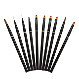 Pinceles para uñas en acrílicas 10pcs, Anself Juego de bolígrafo profesional para Nail Art DIY, Set de Cepillo de Esmalte Uñas Pincel Pintura Dibujo
