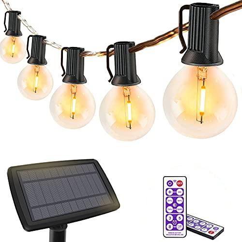 Cadena de luces solares para exteriores, con mando a distancia, 8 m, cadena de luces LED regulable para verano, 16 bombillas LED de luz blanca cálida, para jardín, balcón, fiesta, resistente al agua