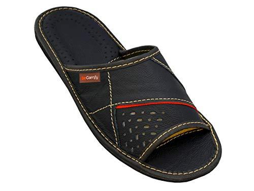 BeComfy Zapatillas de casa para Hombres 100% Cuero Genuino Punta Abierta | Ligera y Suave | Disponible en Tres Colores y con Caja de Regalo 40-46 EU Modelo XC64 (44 EU, Rojo-Negro)