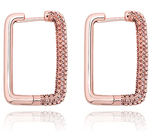 CHXISHOP Rectángulo de las mujeres Hip Hop Pendientes con Zircon Simple y Versátil Pendientes de aro para las mujeres Punk Party Fashion Jewelry oro rosa