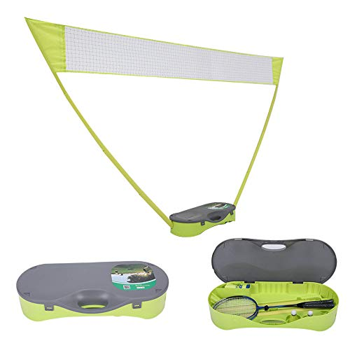 PLKO Portable Folding Badminton Set with Badminton Racket 3 in 1 Outdoor Tennis Badminton Volleyball Net Physical Education Motion Yellow