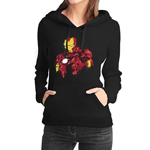Fanta Universe Iron Man Ink - Sudadera con Capucha Mujer - 50% Algodón (XL, Negro)