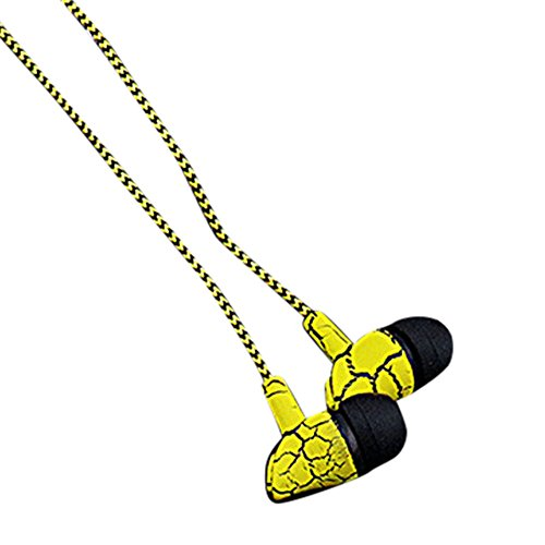 Marxways Design Nylon geflochtene Crack Kopfhörer Stoff Seil Ohrhörer Stereo Bass MP3 Musik Headset mit Mikrofon für Handy MP3 MP4/クラック有線ヘッドフォン!!! (Gelb)