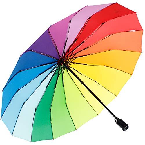 iX-brella Taschenschirm 16-teilig mit Handöffner - Regenbogen
