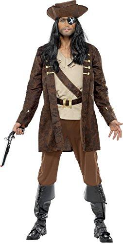 Smiffys Costume boucanier, marron, manteau, chemise, pantalon et chapeau