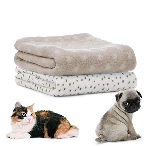 LeerKing Hundedecke Katzendecke 2er Pack Schlafdecke maschinenwaschbar Welpendecke kleine Tierdecke für Sofa und Tierbett 75 * 100cm 2er Pack Hellgrau Weiß