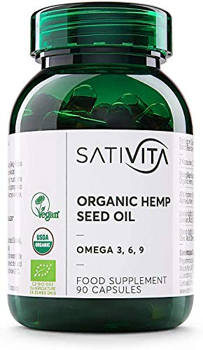 Organic Hemp Oil Capsules Sativita - World's #1 USDA, EU and Vegan Certified - Omega 3 6 9 Food Nutrition Supplement - Recommended 1000mg