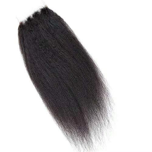 Cheveux indiens crépus raides naturels vierges avec fermeture en dentelle 10 x 10 cm (1 pièce de 50,8 cm)