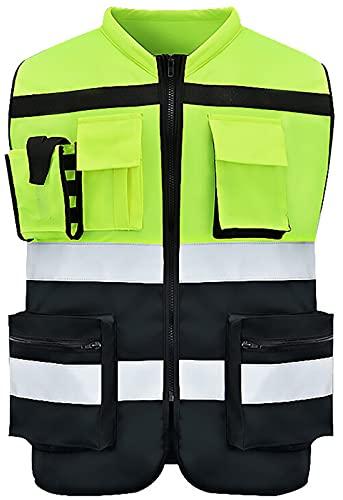 Xbswhm Chaleco Ejecutivo de Alta Visibilidad, Chaleco de Advertencia, Chaqueta de Color de Señal Chaleco de Seguridad Chaleco Reflectante Ropa de Ciclismo de Motocicleta,Neon Yellow,L