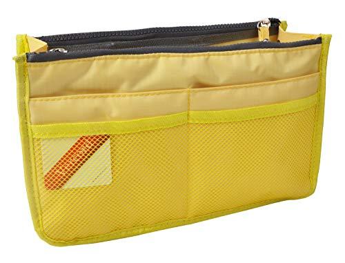 Vercord Updated Purse Handbag Organizer Insert Liner Bag in Bag 13 Pockets Light Yellow Small