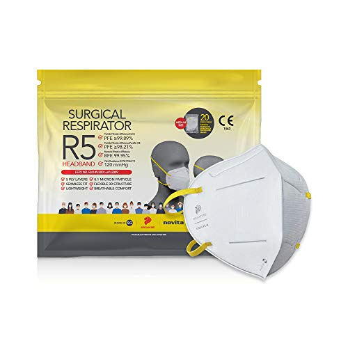 novita Surgical Respirator R5 Headband   FDA EUA Listed, FFP2, CE Certified   Made in Singapore   M Size   20 Pieces in a Pack