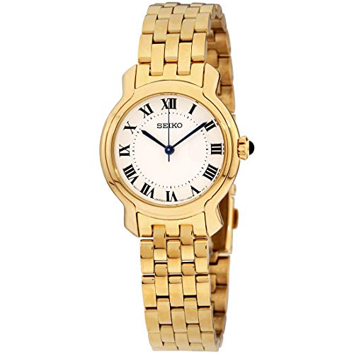 Seiko Women's Stainless Steel Japanese-Quartz Dress Watch with Stainless-Steel Strap, Gold, 13.5 (Model: SRZ520)