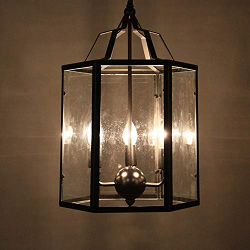 ZZYJYALG Techo poligonal transparente vela de cristal de la lámpara pendiente del pasillo del pasillo de la sala del accesorio ligero de la lámpara industrial Retro 3-luces de sombra E14 Lámpara colga