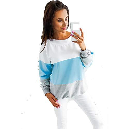 SLYZ Mujeres Europeas Y Americanas Primavera Y Otoño Nueva Personalidad Moda Cuello Redondo Casual Color Costura Suéter con Cordones Blusa