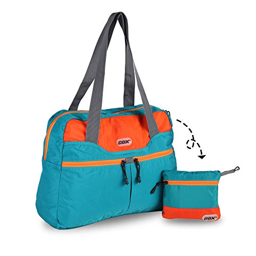 GOX Travel Foldable tote Bag, Tear resistant Duffle Bag, Lightweight Multipurpose Daypack (Turquoise)