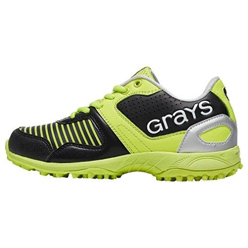 Grays Junior GX550 Hockey Shoes, Black/Yellow, UK4