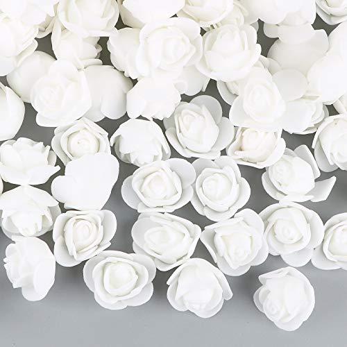 VINFUTUR 200pcs Rosas Artificiales Blanco Flores Falsas Pequeñas Rosas Espuma para DIY Regalos Oso Rosas Decoración Jarrón Mesa Boda Manualidad
