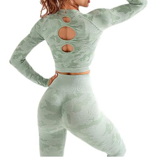 Yoga Set Frauen Nahtlose Fitness Kleidung Yoga BH Sport Lange Ärmel Tops Camouflage Gym Leggings Hosen Anzug Workout Sportswear