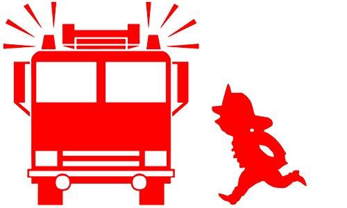 EmmiJules Wandtattoo Feuerwehr Feuerwehrmann - Made in Germany - verschiedene Größen und Farben - Kinderzimmer Junge Sam Wandaufkleber Wandsticker (60cm x 40cm, rot)