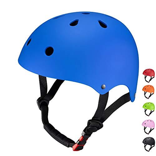 Casco Bicicleta Para Niños Infantil, SKL Tamaño Ajustable Casco Bici Niño 48-52cm Transpirable (Azul)