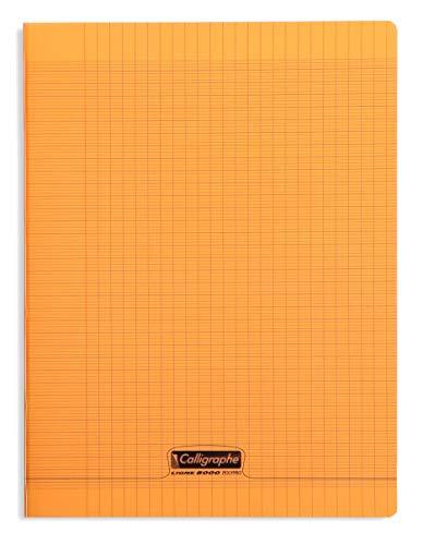 Calligraphe 18398C - Un cahier piqué (gamme 8000 de Clairefontaine) 192 pages 24x32 cm 90g grands carreaux, couverture polypro (plastique), Orange