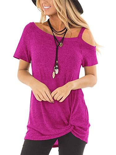 Tivifox Womens Cold Shoulder Tops Cute Casual Chic Short Sleeve Loose Twist Knit Tunic Shirt Red M