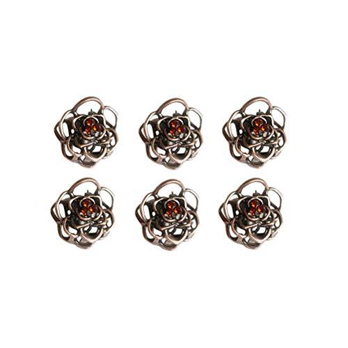 Lurrose 6 stücke Aushöhlen Rose Blume Klaue Haarspange Metall Haarschmuck für Frauen Mädchen