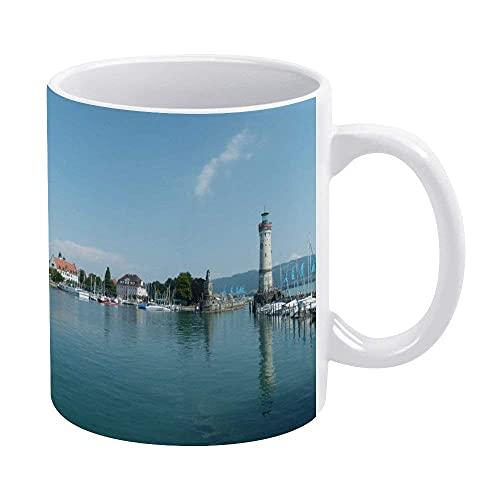 N\A Lindau-Bavaria-Lake-Constance-Holiday-Lighthouse - Taza, Color Blanco, Novedad, Taza de café, Divertida, Tazas para mamá, papá, niñas Adolescentes, 11 oz