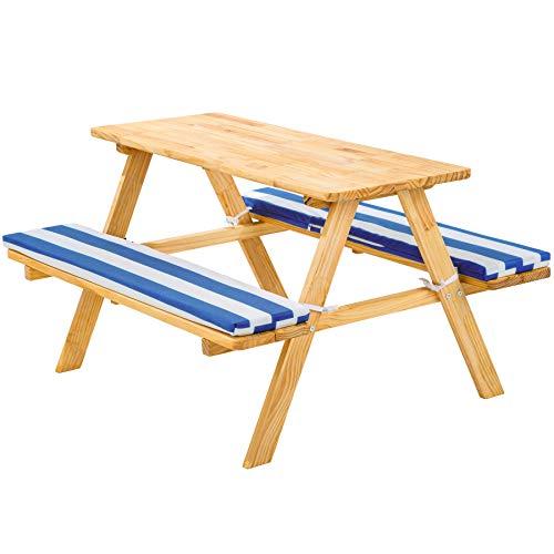 TecTake 800807 Kinderpicknickbank mit Polsterauflage, Kinder Sitzgruppe aus Holz, Picknicktisch für 4 Kinder, Sitzgarnitur für den Garten, 89 x 79 x 50 cm - Diverse Farben - (Blau Weiß | Nr. 403244)