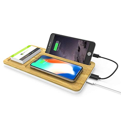 WIZCHARK 10W Bamboo Wireless Charger, Qi-Certified Charging Pad with Phone Holder Compatible with iPhone Xs/Max/XR/XS/X/8/8Plus, Fast Charging Galaxy S10/S9/S8 (Cable Included, No AC Adapter)
