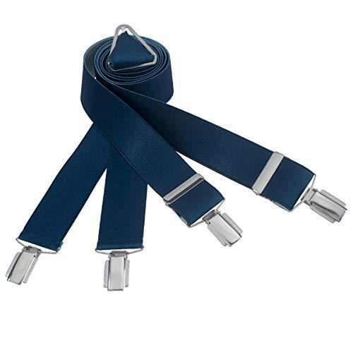 LINDENMANN Hosenträger Herren 35 mm breit, X-Form, Herren-Hosenträger mit 4 Clips, Längenverstellbar, elastisch und flexibel, marine, Größe/Size:110, Farbe/Color:blau