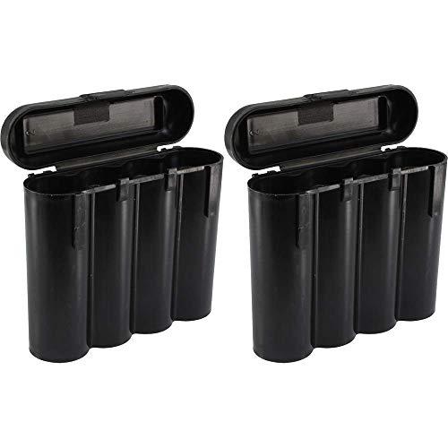 2 Black 18650 & CR123A 4 Battery Holder Storage Case for 18650 Batteries