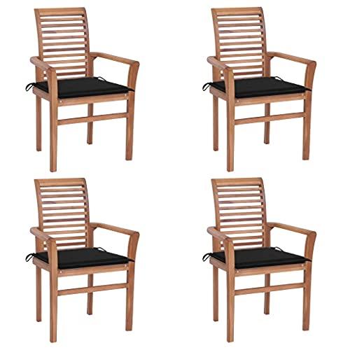 vidaXL 4X Madera Maciza de Teca Sillas de Comedor y Cojines Sillón Exterior Balcón Terraza Patio Asiento Butaca Muebles Mobiliario Negros