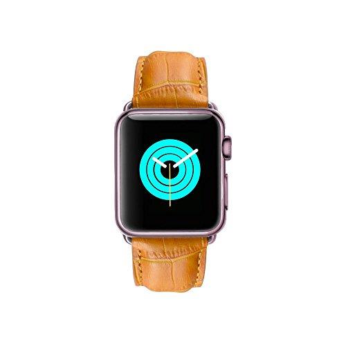 Cocodrilo MintApple Apple Watch Band en marrón, 100% Piel auténtica con cierre de despliegue de acero inoxidable para 38mm y 42mm. Serie 1, Serie 2, Edición, todos los modelos, Rose Gold Aluminium