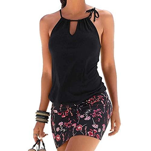 TBSCWYF Copricostume Donna Mare Vestito Senza Maniche Stampato Ondulato Bikini Cover Up Abito da Spiaggia Tropical Causal Copricostume Mare Donna