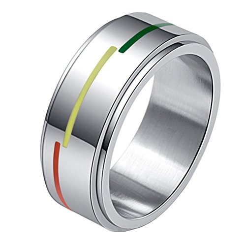 LANHI Unisex Stainless Steel Silver Tone Rainbow Flag Spinner Ring Gays and Lesbians LGBT Pride Band 8mm Size 7