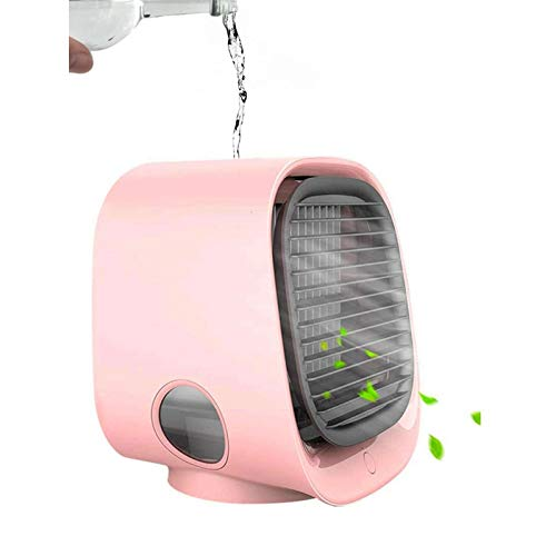 Portable Air Cooler, Mini Air Conditioner Cooler and Humidifier,Small Evaporative Coolers Purifier, 3 Fan Speeds,GANGELE Personal Mobile Air Cooling Fan for Home Bedroom Office (Pink)