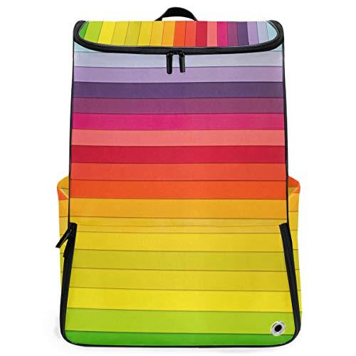 Robuster Rucksack Farbstreifen Geometrische Reise Lässige Tagesrucksack Rucksack Wandern Schultaschen für Schüler Mädchen Jungen