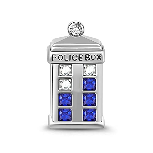 Gnoce Doctor Who Police Box Time Machine Tardis Charm Bead 925 Sterling Silver'The Universe Is Big' Bracelet Charm fit for Bracelet/Necklace Halloween Jewelry Gift