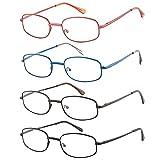 EFE Gafas de Lectura 4 Unidades Gafas para Leer Moderno Ligeras Comodas Metal Vista de Cerca Unisex Hombre y Mujer (+3.00)