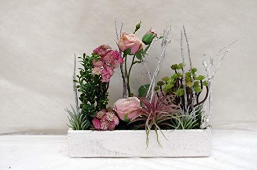 Bloomingdeel Seidenblumengesteck Textilblumengesteck Gesteck Landhaus Rose Kunstblumengesteck Seidenblumen