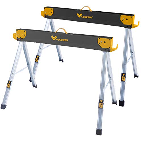 Folding Sawhorse Jobsite Table, 1100lbs (500kg) Capacity 2 Positions Building Your Work Station - 2 Pack