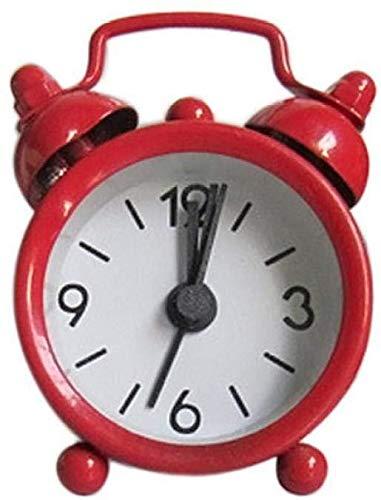Creative Bedside Klok Cute wekker vintage retro mute wijzer klok rond getal dubbele bel luid Leuke wekker naast het bed 's nachts licht woondecoratie rood