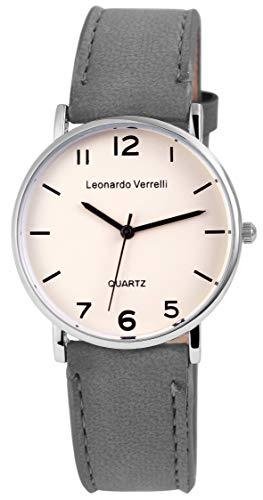 Leonardo Verrelli Unisex - Uhr Lederimitations Herren Damen Armbanduhr 2910002 (Grau)