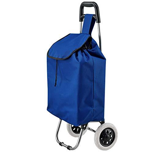 Juskys Einkaufstrolley Meran faltbar – große Reifen & Griff – Einkaufsroller abnehmbare Tasche + zusätzliches Fach – blau Trolley Einkaufswagen