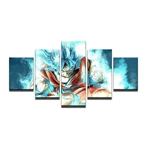 YGLM Cuadro Moderno En Lienzo Decoración para El Arte del Hogar Dragon Ball Super Goku Modular Poster Mural 5 Piezas Hogar Salón Oficina Decoración con marco200*100CM