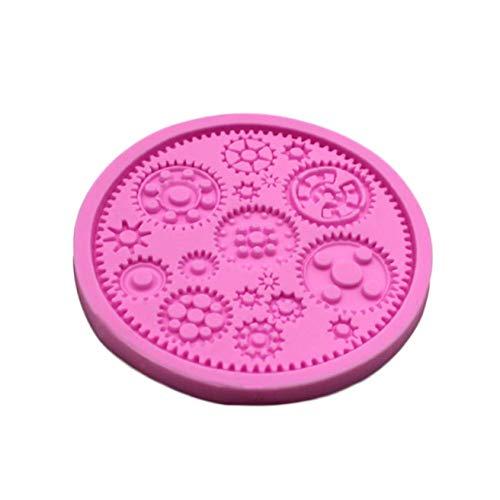 huamaojiancai - Stampo in Silicone a Forma di Ingranaggi per Zucchero e cioccolatini Rosa