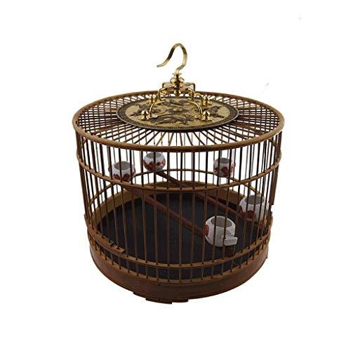 XXXXW Canarios Jaula Mascota Representado bambú Material Birdcage con el Gancho Interior y Exterior Bird Villa Chino Estilo de la Jaula de pájaros del Vintage Jaulas para Loros