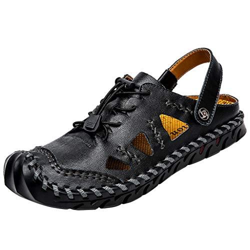 Sandalias de Cuero Casual de Verano para Hombre Transpirable Moda Transpirable Zapatos al Aire Libre Sandalias de Playa Zapatillas de Montaña Senderismo Tamaño Grande Negro 38-48 riou