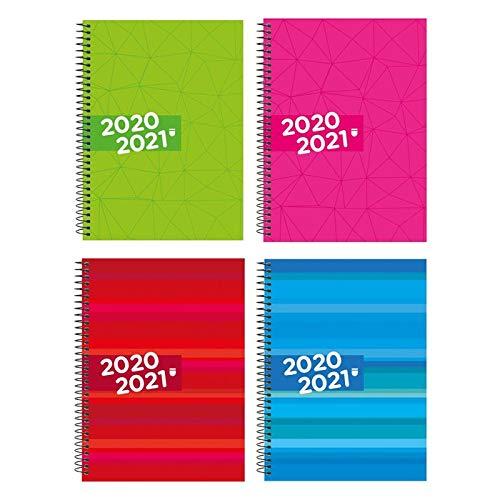 AGENDA ESCOLAR 2020/21 CON ESPIRAL DIN A5 SEMANA VISTA TAPA DURA, COLORES SURTIDOS
